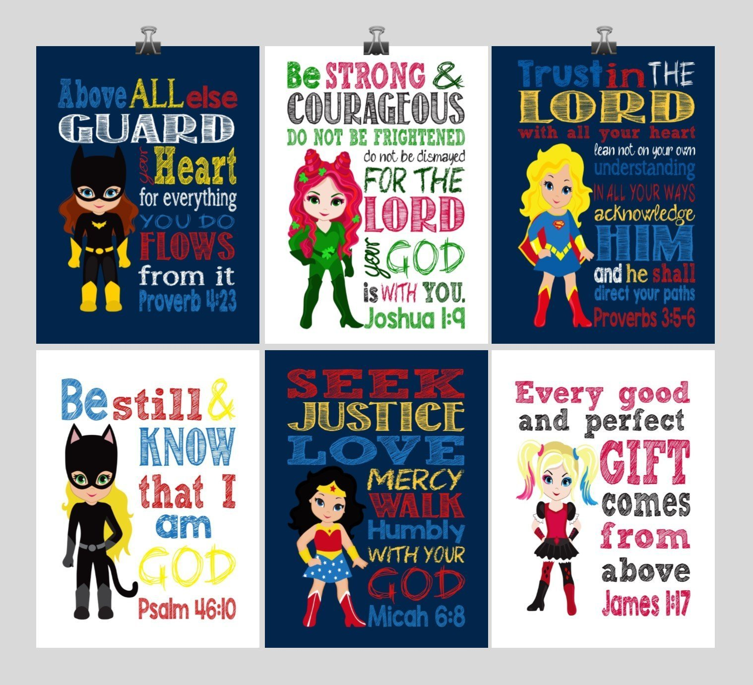 Christian DC Super Hero Girls Nursery Decor Art Set of 6 Prints, Batgirl, Harley Quinn, Poison Ivy, Catgirl, Supergirl & Wonder Woman - Multiple Sizes by Pixie Paper