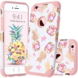 GUAGUA iPhone 6 Plus Case iPhone 6S Plus Case Colorful Pineapple Slim Fit Hybrid Hard PC Soft Silicone Glossy Shockproof Protective Case for iPhone 6 Plus/6S Plus Case for Girls&Women Rose Gold White
