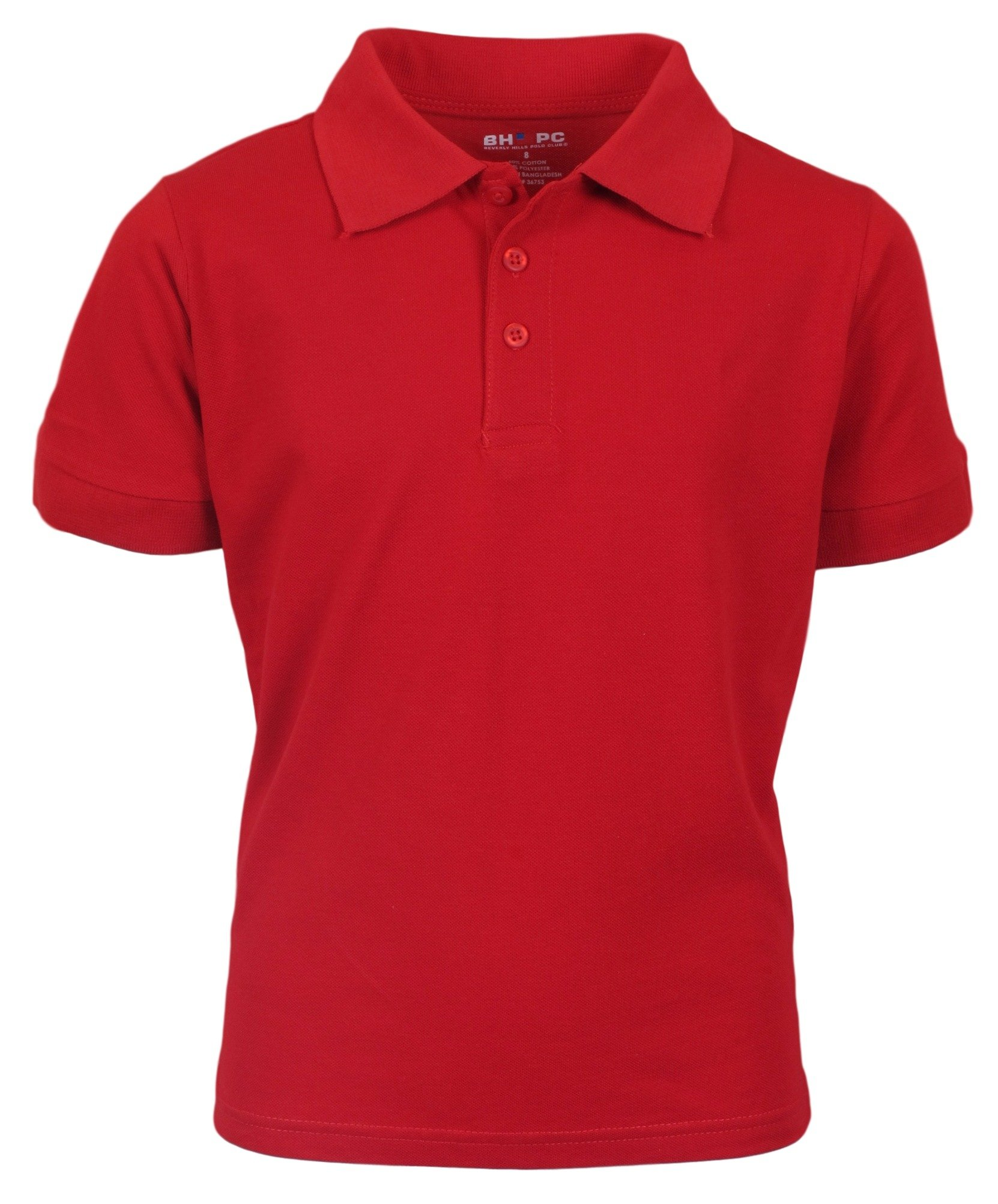 Beverly Hills Polo Club 3 Pack of Boys' Short Sleeve Pique Uniform Polo Shirts, Size 16, Red by Beverly Hills Polo Club (Image #2)