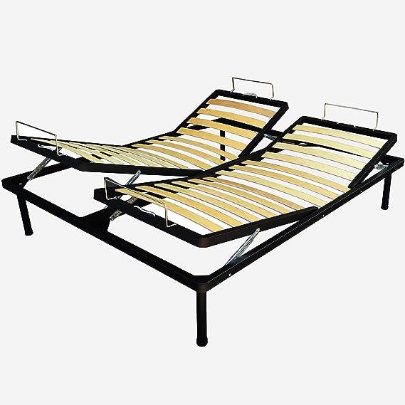 Somier para cama de 160 x 190 cm, con listones, cama reclinable, regulación manual de respaldo y piernas, plegable