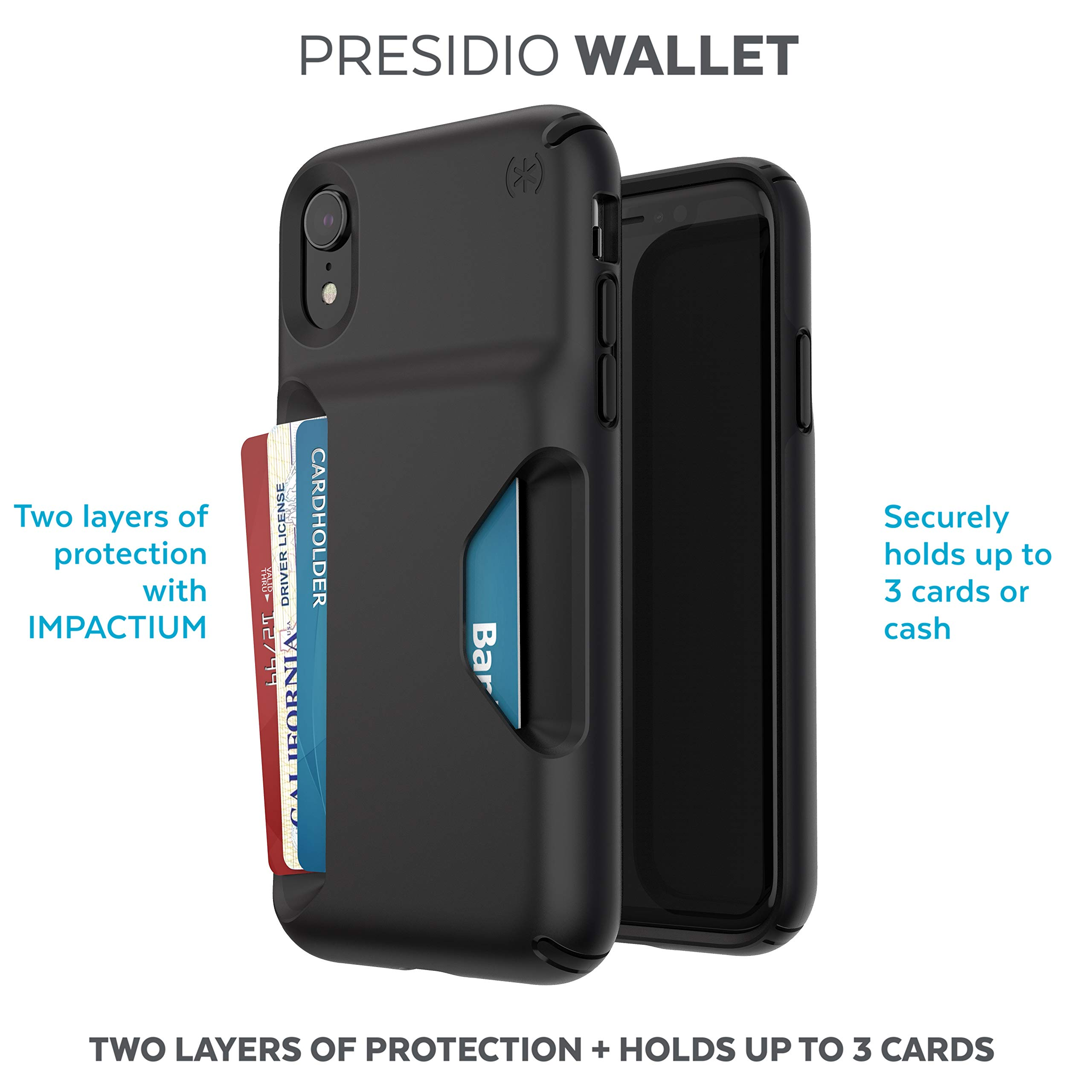 Speck Products Presidio Wallet iPhone XR Case, Black/Black by Speck (Image #2)