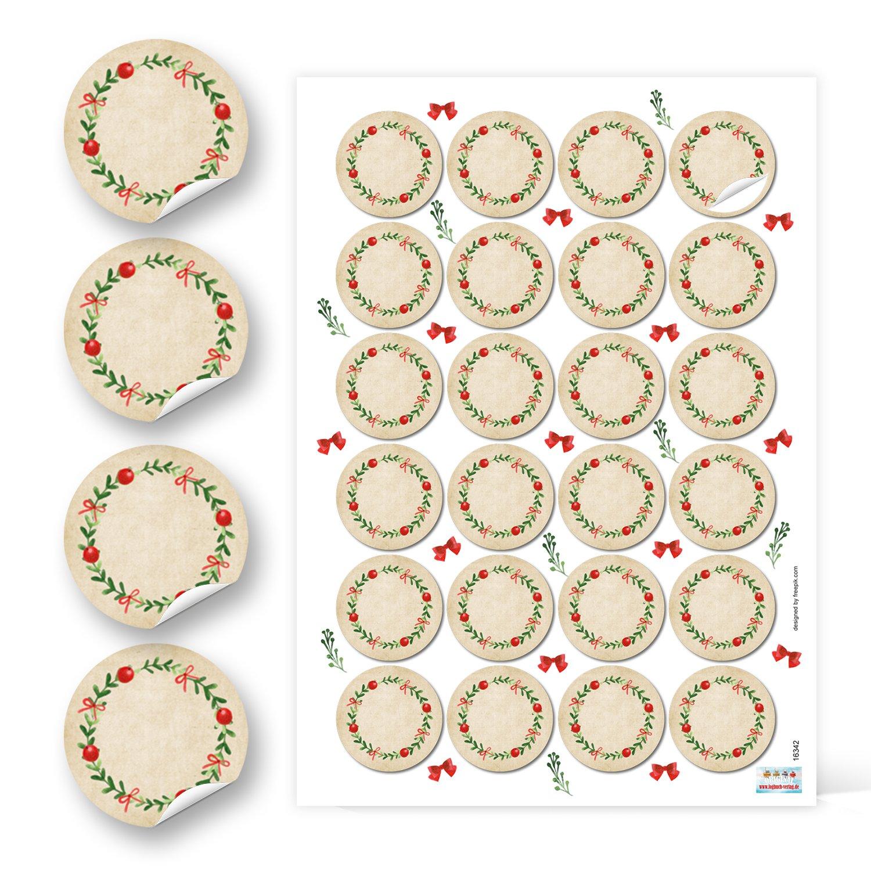 d/'/épices 24 Aufkleber pots de confiture pour cadeaux Autocollants ronds papier kraft rouge /étiquettes de No/ël vert vif 4 cm