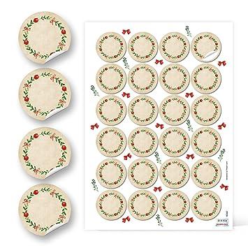 24 Runde Kraftpapier Rot Grün Blanko Natur Kranz Etiketten Vintage Weihnachten 4 Cm Geschenk Aufkleber Sticker Weihnachtlich Gewürzetiketten Gläser