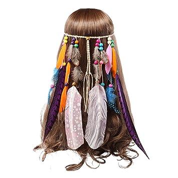 Amazon.com   AWAYTR Feather Headband Indian Headpiece - Bohemian Tassels  Hair Band Headwear For Women Girls   Beauty 94d231de98ea
