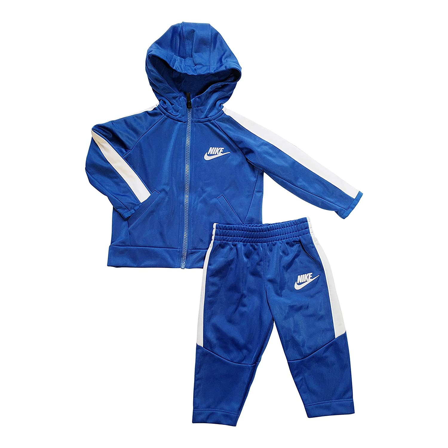Nike Baby Boys Hooded Tracksuit, 2 Piece Set 2 Piece Set (Blue 18 Months)