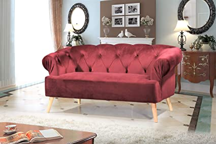 Container Furniture Direct S5408-L Aahil Modern Velvet Button Tufted Chesterfield Living Room Loveseat, 69.69
