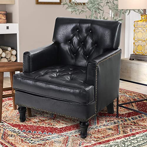 ALPHA HOME Rivet Accent Chair Mid Century Modern Living Room Chair Nail-Headed PU Leather Wingback Armchair Button Tufted Single Sofa Club Home Theater Cushion Seating