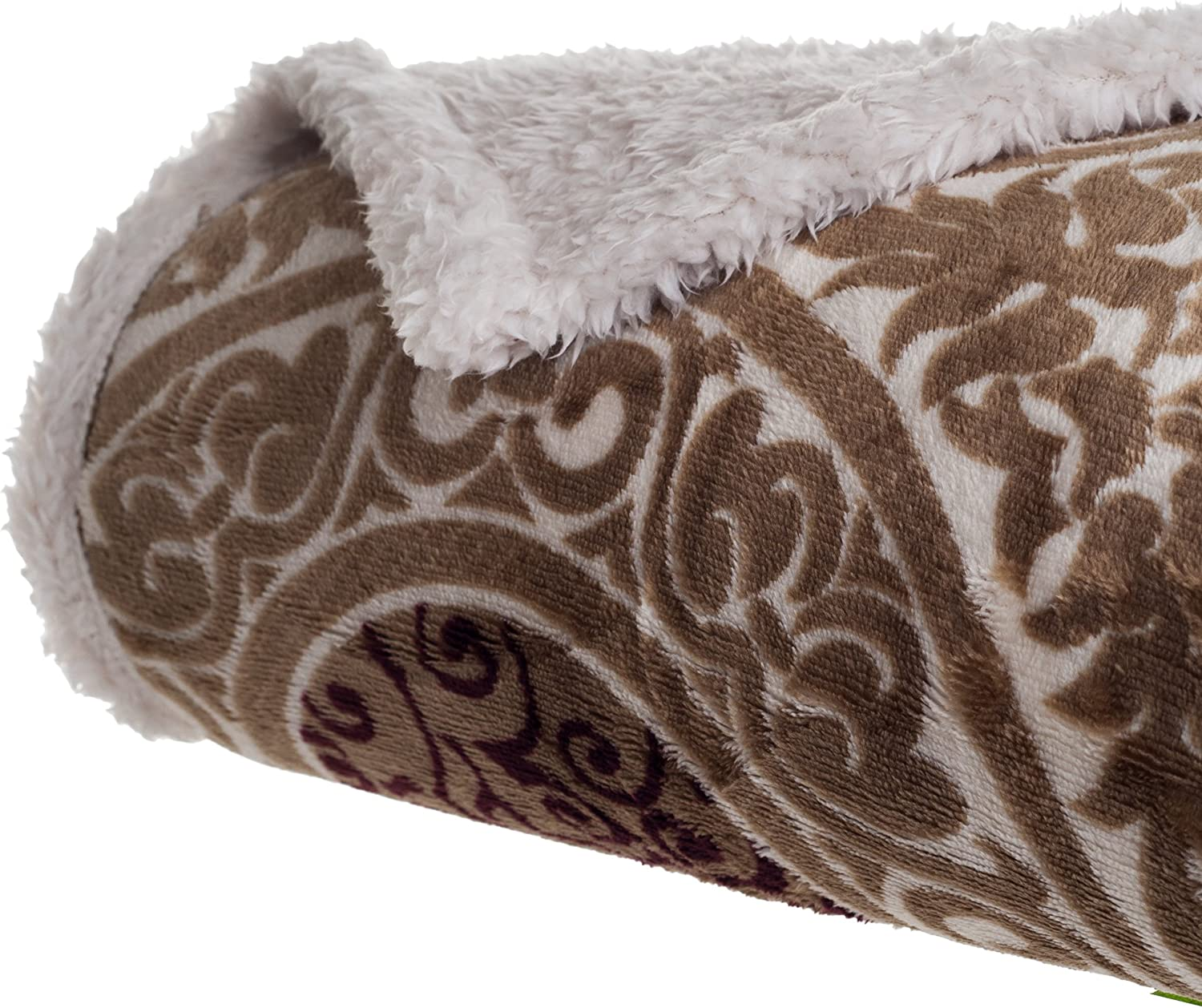 Lavish Home Printed Coral Soft Fleece Sherpa Throw Blanket, Brown