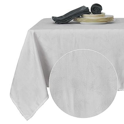 Deconovo Nappe de Table Rectangulaire Blanc Exterieur Imperméable Jacquard  Motif Geometrique Moderne Design Decoration Maison Jardin 137x200cm