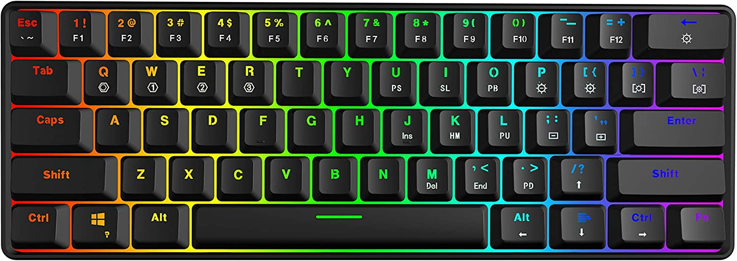 GK61 Mechanical Gaming Keyboard - 61 Keys Multi Color RGB Illuminated LED Backlit Wired Programmable for PC/Mac Gamer (Gateron Optical Yellow, Black): Computers & Accessories