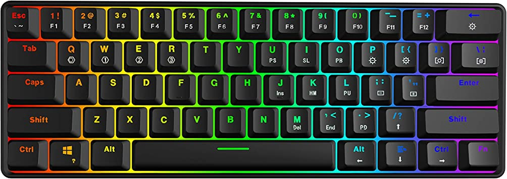 GK61 Mechanical Gaming Keyboard - Multi Color RGB Illuminated LED Backlit Wired Keyboard