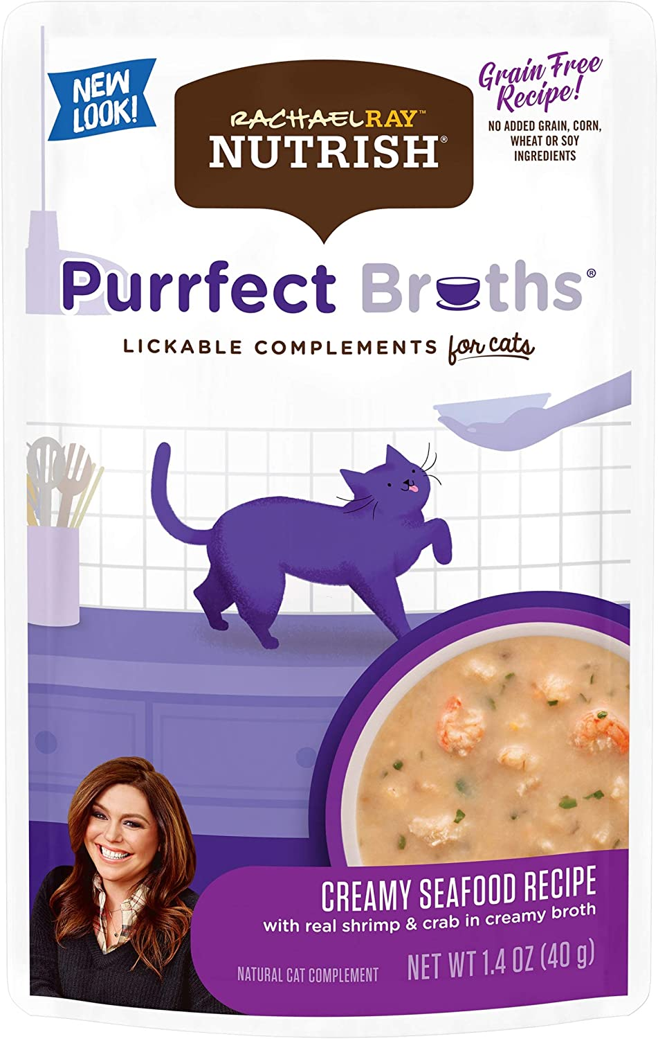 Rachael Ray Nutrish Purrfect Broths Natural Wet Cat Food, Creamy Seafood Bisque with Shrimp & Crab Recipe, 1.4 Ounce Pouch (Pack of 24), Grain Free (Packaging May Vary)