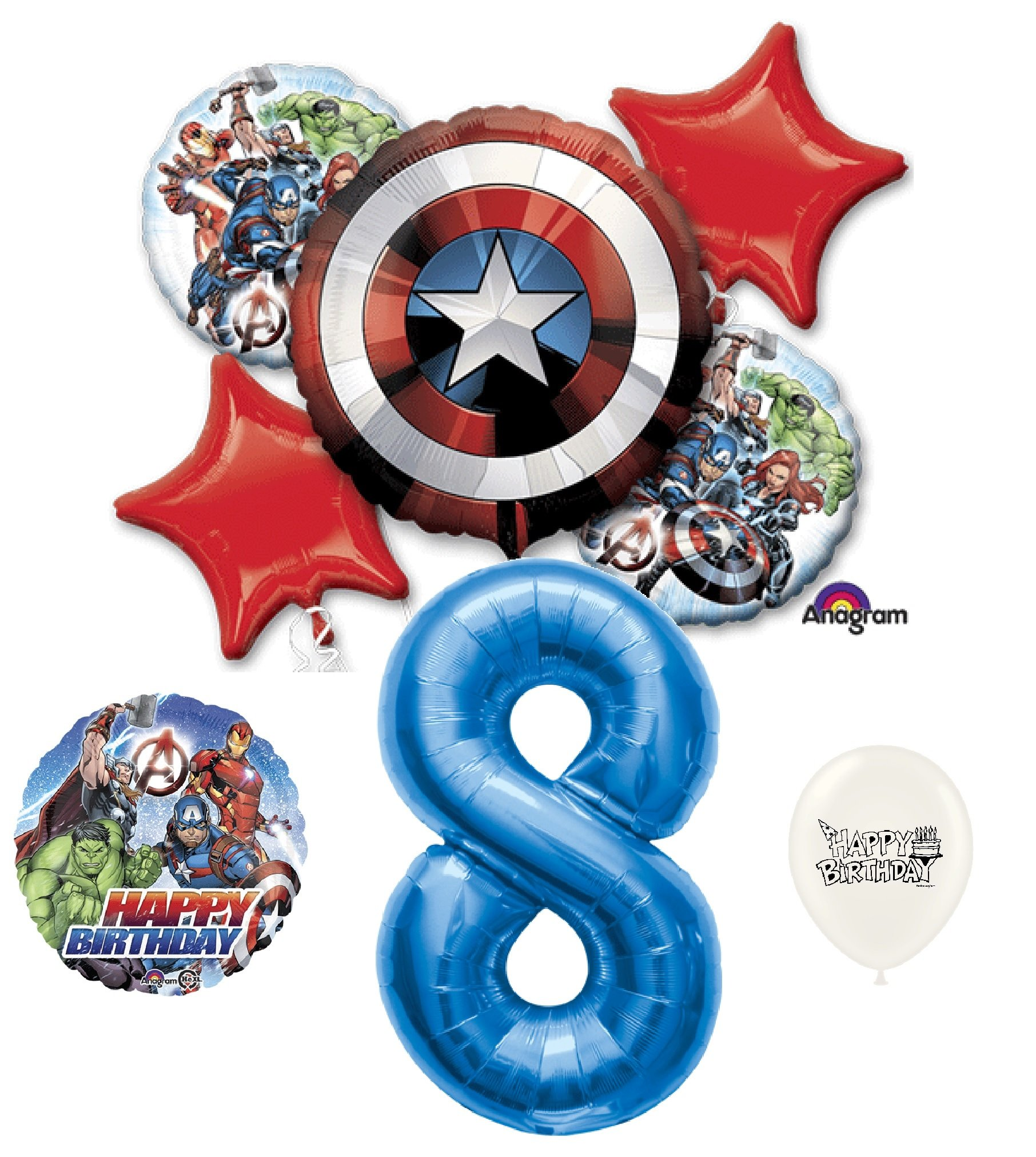 8th Birthday Blue Number Avengers Captain America Shield Balloons Bouquet Bundle