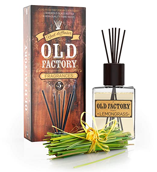 Reed Diffuser Set - Lemongrass - Essential Oil Aromatherapy Scent Bottle and 6 Clog-Resistant Fiber Reeds - Premium Scented Diffusers for Oils - 5oz