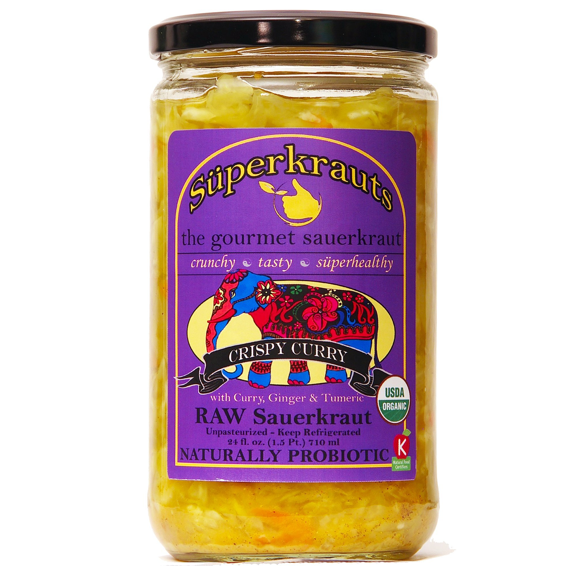 """Curry"" gourmet sauerkraut: organic, raw fermented, unpasteurized, probiotic, kosher, vegan and gluten free. 24 fl. oz, 16 flavors available. No shipping charges with minimum."