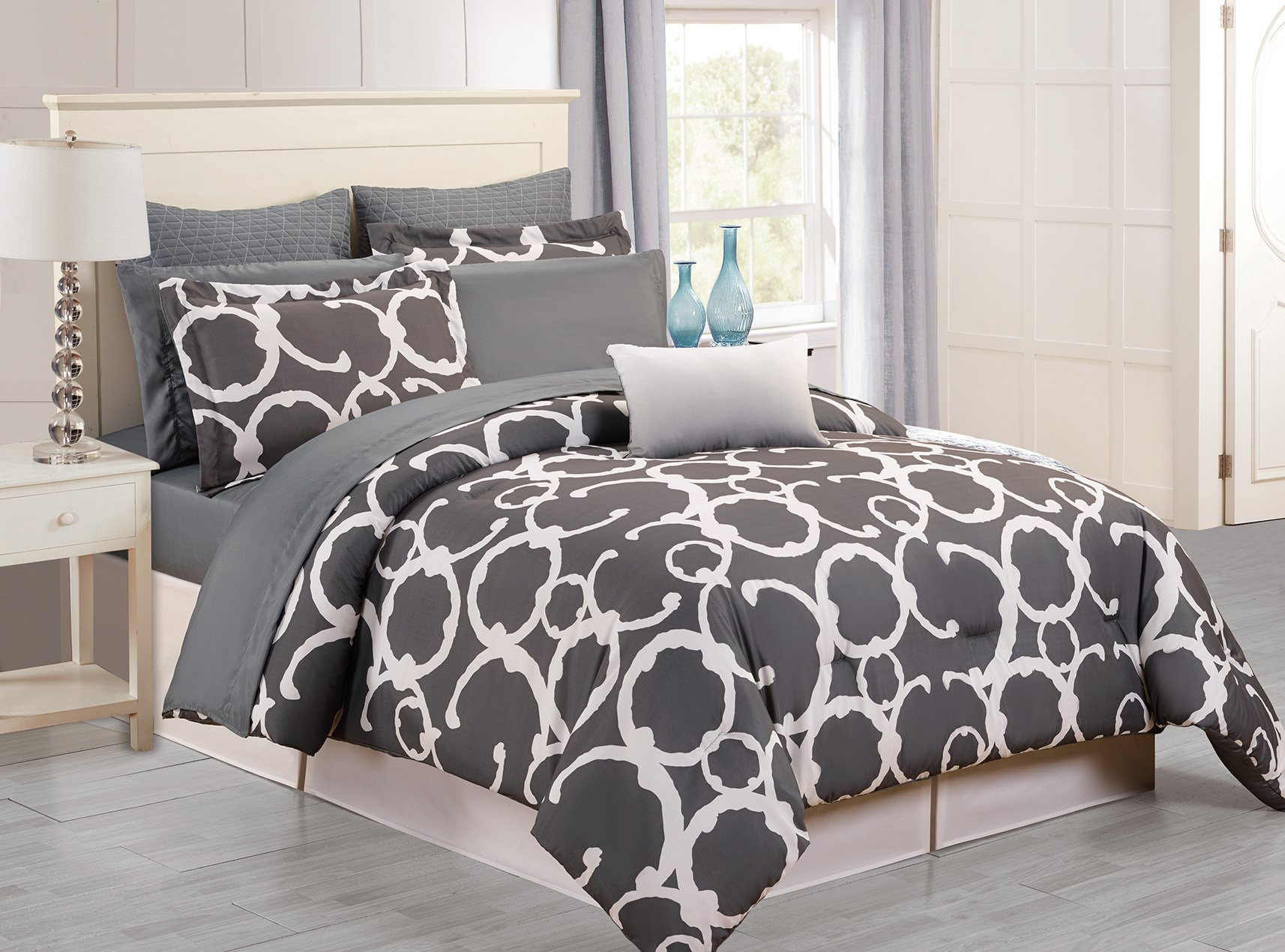 Home Maison -  Rhys Hotel Quality Luxury Comforter Duvet Insert Cover Hypoallergenic | 10 Piece Set | Geometric Collection, | Queen Size | Grey