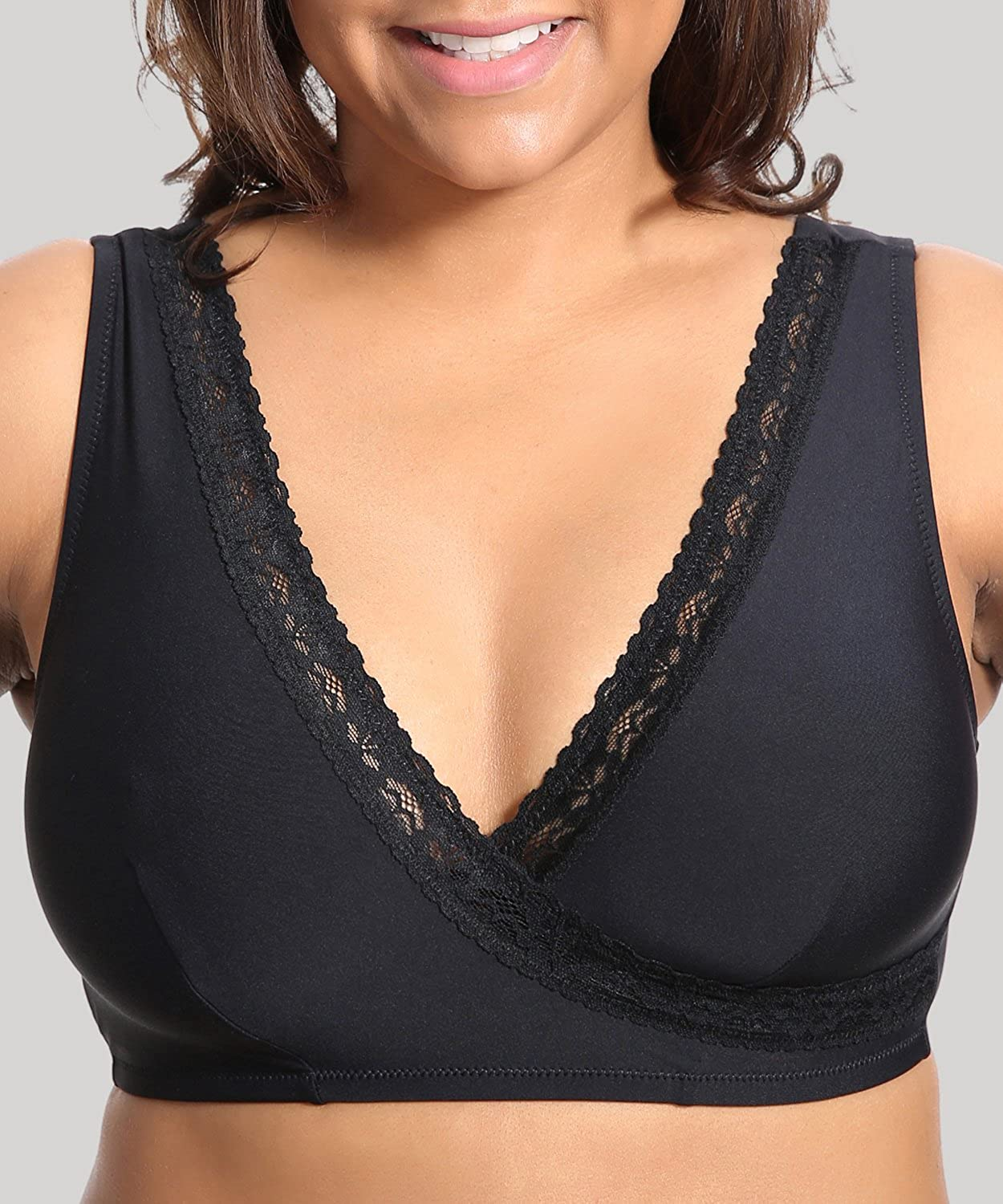 Delimira Womens Plus Size Soft Cup Comfort Wirefree Sleep Lace Bra Black 46 B//C//D