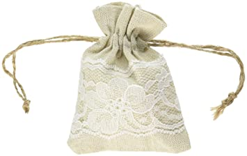 Amazon.com: Outside the Box Papers Lace and Linen Drawstring Bags ...