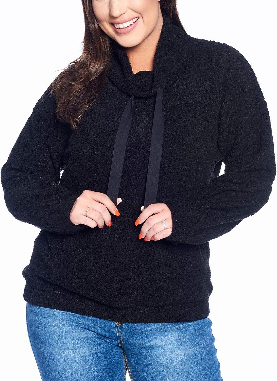 Talent Plus Women's Junior Plus Size Cozy Faux Shearling Pullover Sweater