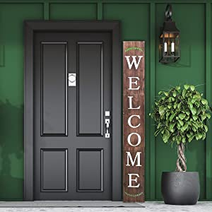 OsFine Welcome Sign for Front Door, 6ft Tall Front Porch Decor, Front Porch Decorations Outdoor, Front Door Decor, Farmhouse Home Decor (Brown/Rustic Barnwood)