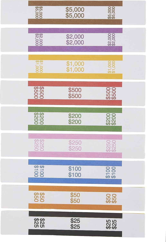 Paquet de 300 emballages de billets assortis 7,75 x 1,25 pouces Autoadh/ésif Sangles de monnaie Couleurs standard ABA Bandes de monnaie pour classer les factures