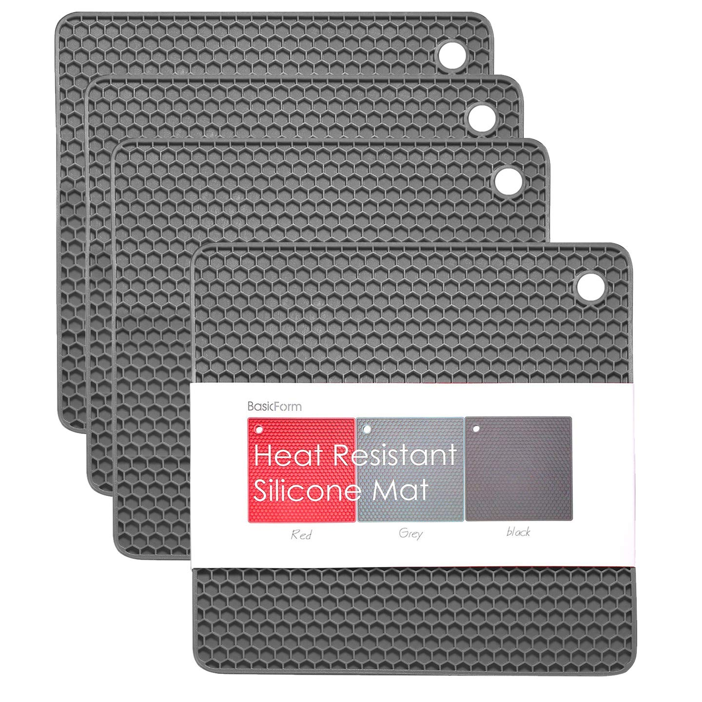 BasicForm Silicone Trivet Square Honeycomb Pattern 7.5x7.5x0.31 Inches (Set of 4) (Gray)