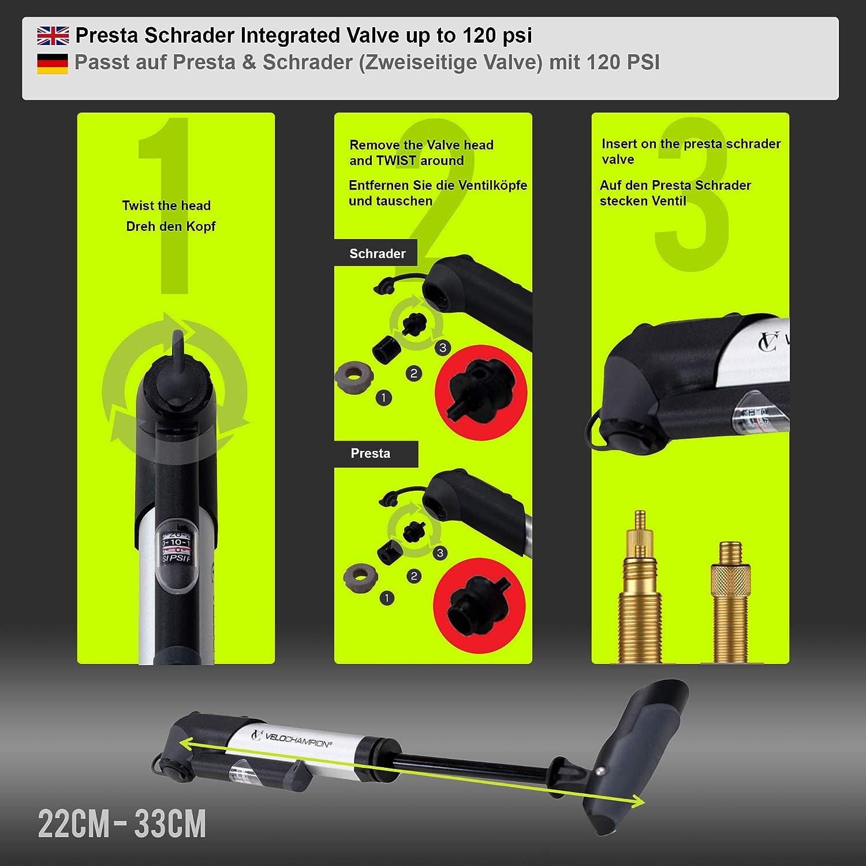 Tragbar Langlebig Kompakt mit 120 PSI // 8.3 bar Maxer Druck Zweiseitige Valve Passt auf Presta /& Schrader Schnell Und Einfach VeloChampion Legierung 9 Kleine Fahrradpumpe mit Druckanzeige