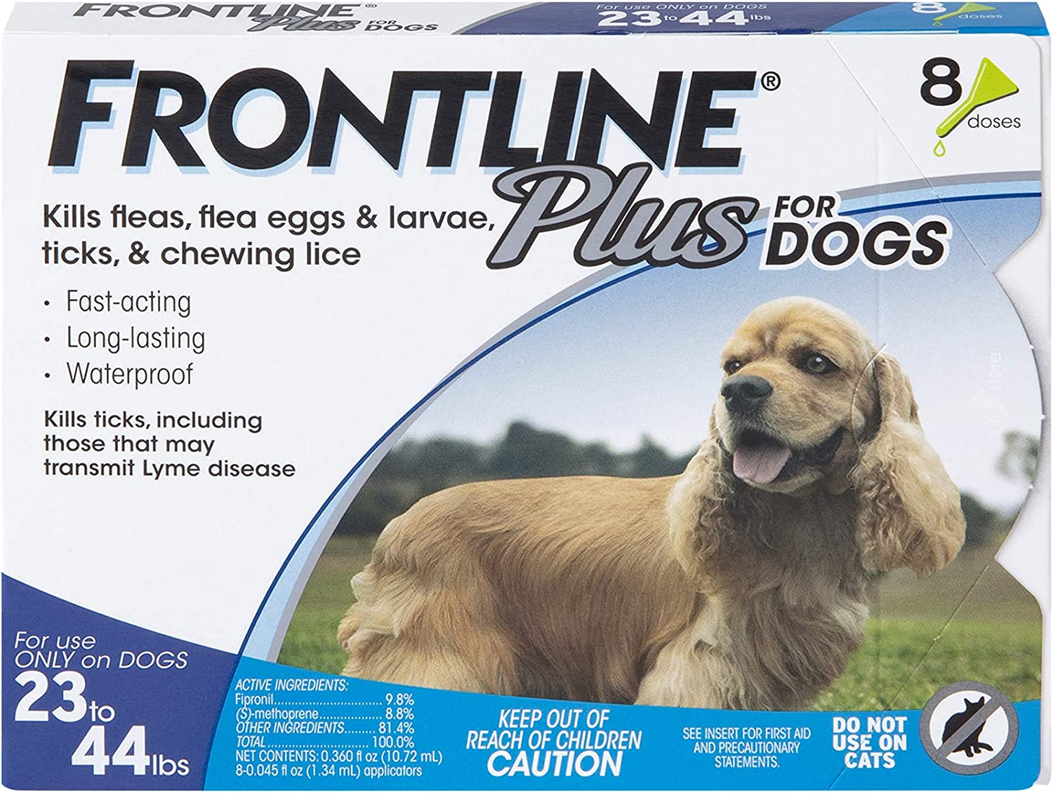 FRONTLINE Plus Flea and Tick Treatment for Dogs (Medium Dog, 23-44 Pounds, 8 Doses)