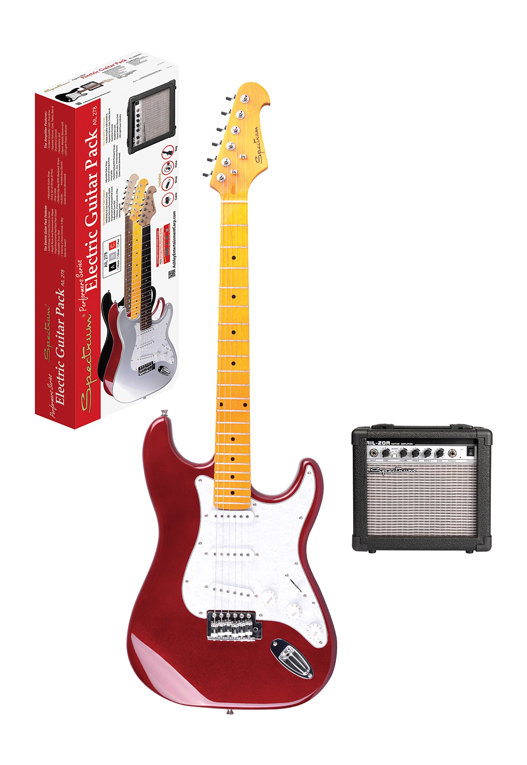 Spectrum AIL 278C Electric Guitar Pack, Red & White by Spectrum