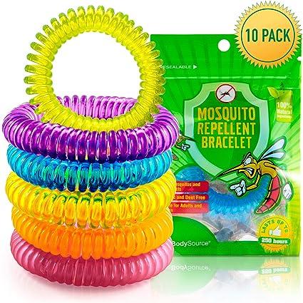 The Body Source Pulseras Repelentes de Mosquitos (10 Piezas) No Contiene DEET y Libres de Sustancias Tóxicas o Nocivas, con Citronela e Impermeables, para Adultos y Niños