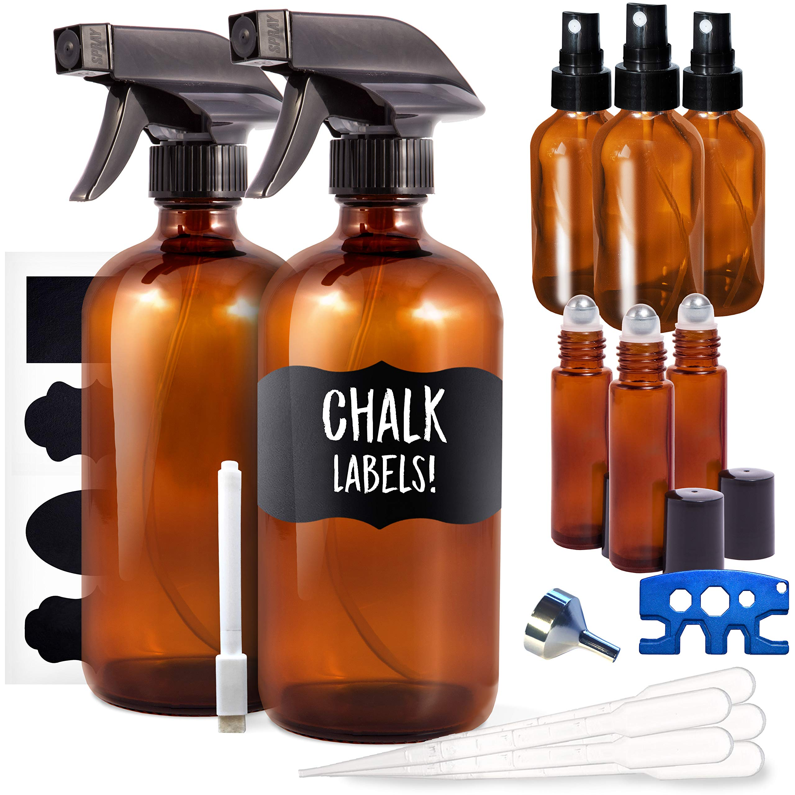 9 Pack Amber Glass Spray Bottle Kit, 2 x 16oz Spray, 3 x 2oz Spray and 3 x 10ml Roller Bottles for Essential Oils and Cleaning Solutions (Bonus: Chalk Labels, Funnel and Roller Bottle Tool)