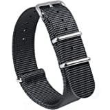 Nato Strap Canvas Fabric Nylon Watch Straps with Stainless Steel Buckle,Adebena Ballistic Replacement Watch Bands Width 20mm 22mm