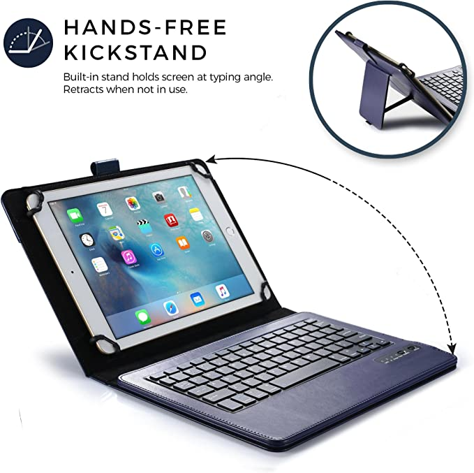 Cooper Infinite Executive Keyboard Case for 9, 10, 10.1 inch Tablets | 2-in-1 Bluetooth Wireless Keyboard and Leather Folio Cover (Dark Blue)