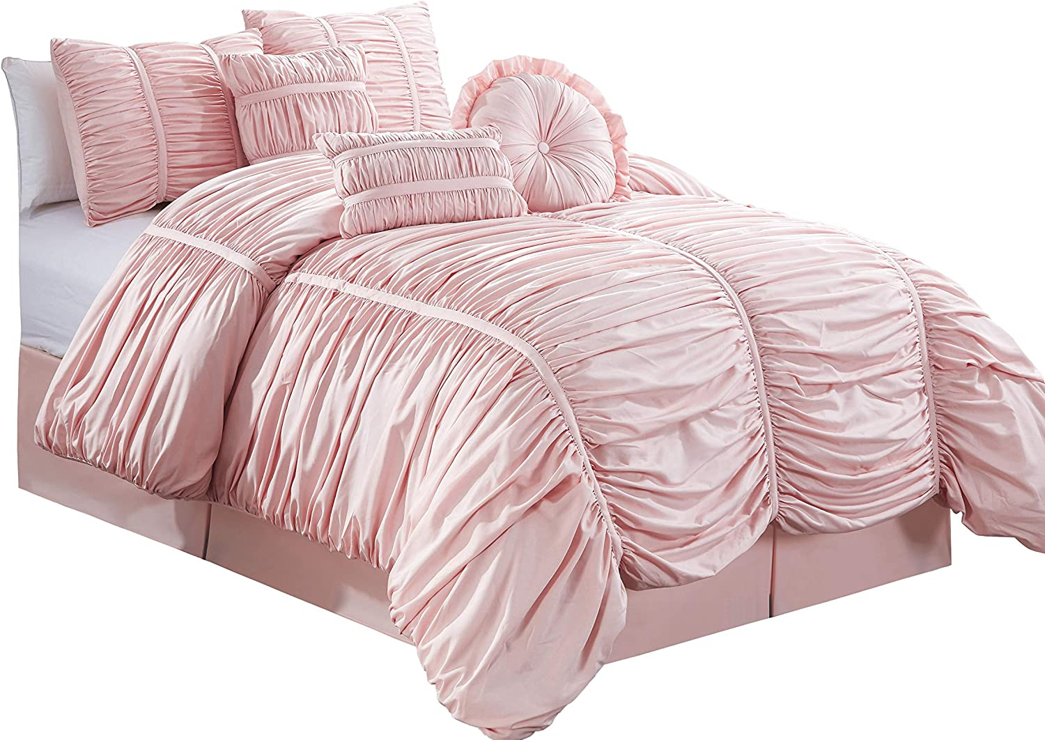 Chezmoi Collection 7-Piece Pink Chic Ruched Comforter Set (with Throw Pillows) (Queen)