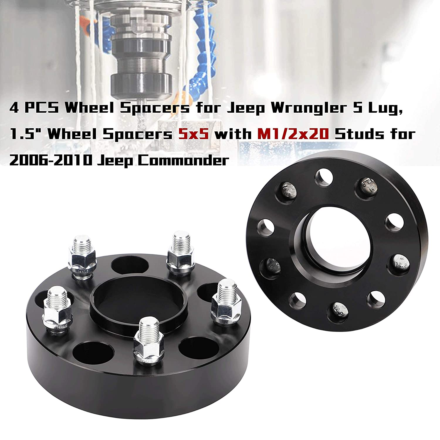 4pcs 1.5 inch hubcentric 5x5 Wheel Spacers with 1//2-20 Studs for 2007-2018 Jeep Wrangler JK 1999-2010 Grand Cherokee WJ WK 2006-2010 Commander XK