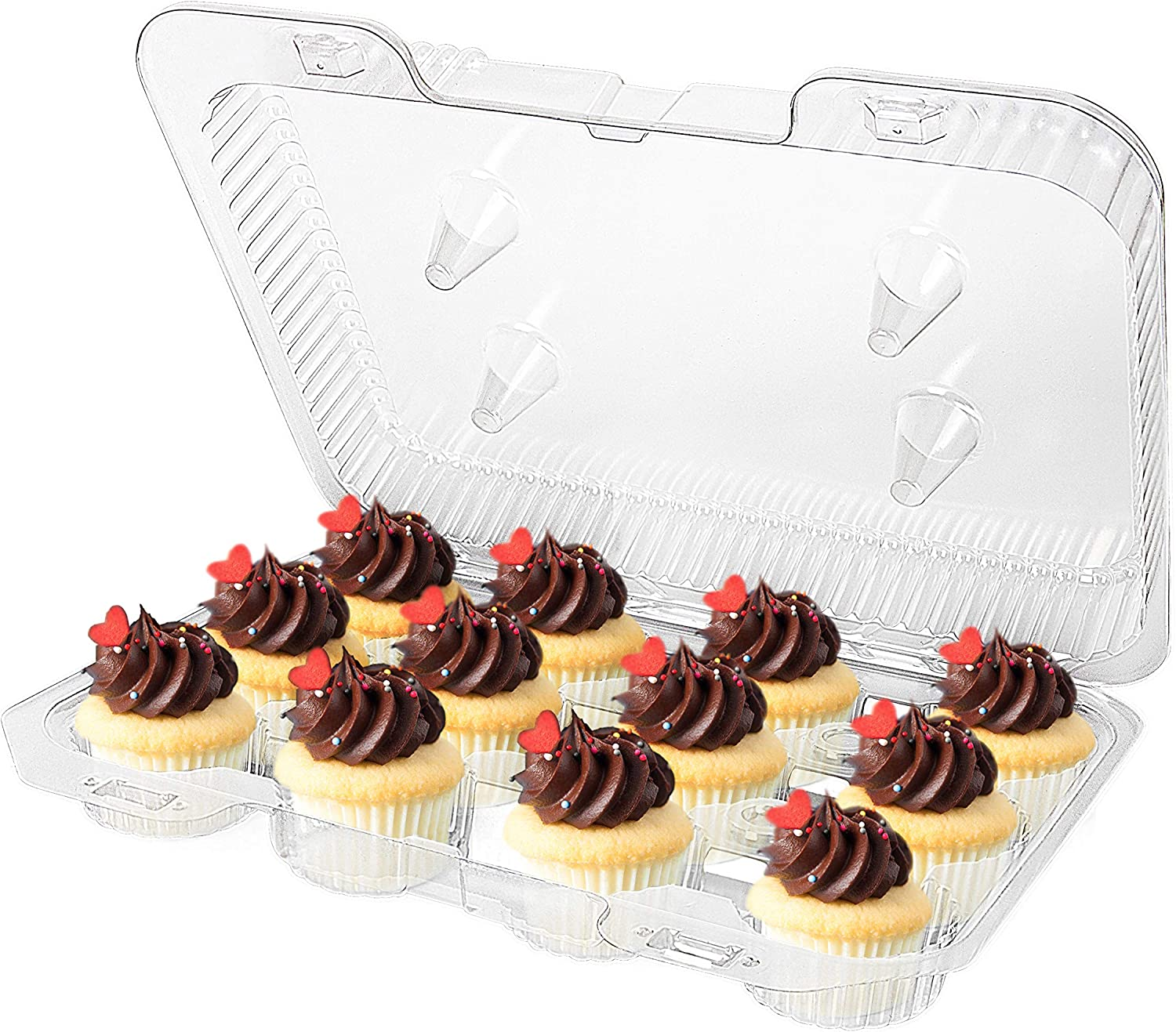 Mini Cupcake Containers - 12-Compartment Containers (40 Count) - Plastic Mini Cupcake Containers - Disposable Trays for Small Cupcakes & Muffins - Hinged Lock Cupcake Clamshell - Mini Cupcake Storage