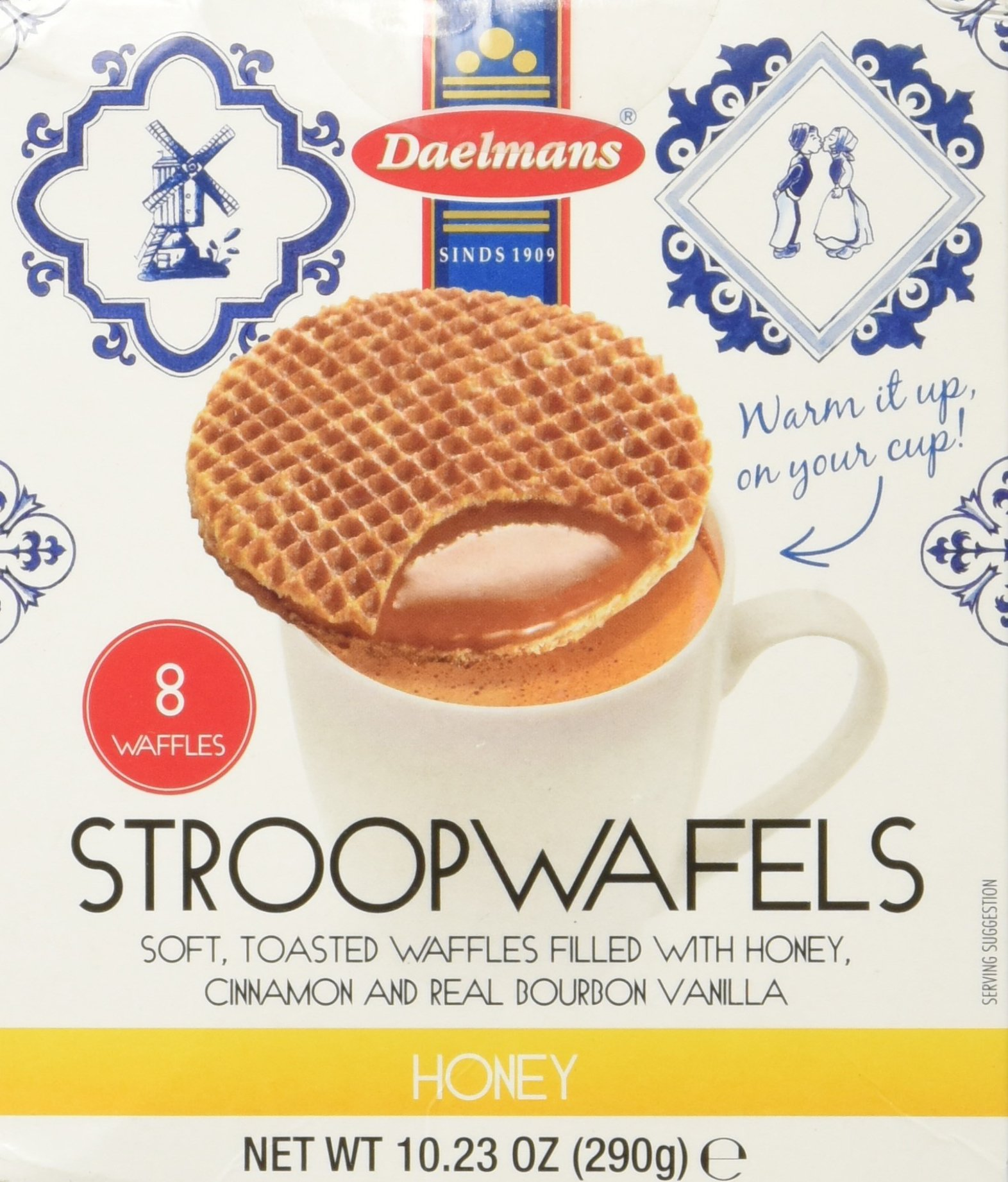 Daelmans Stroopwafels, Honey, 10.23 oz (8 Count Cube Box)