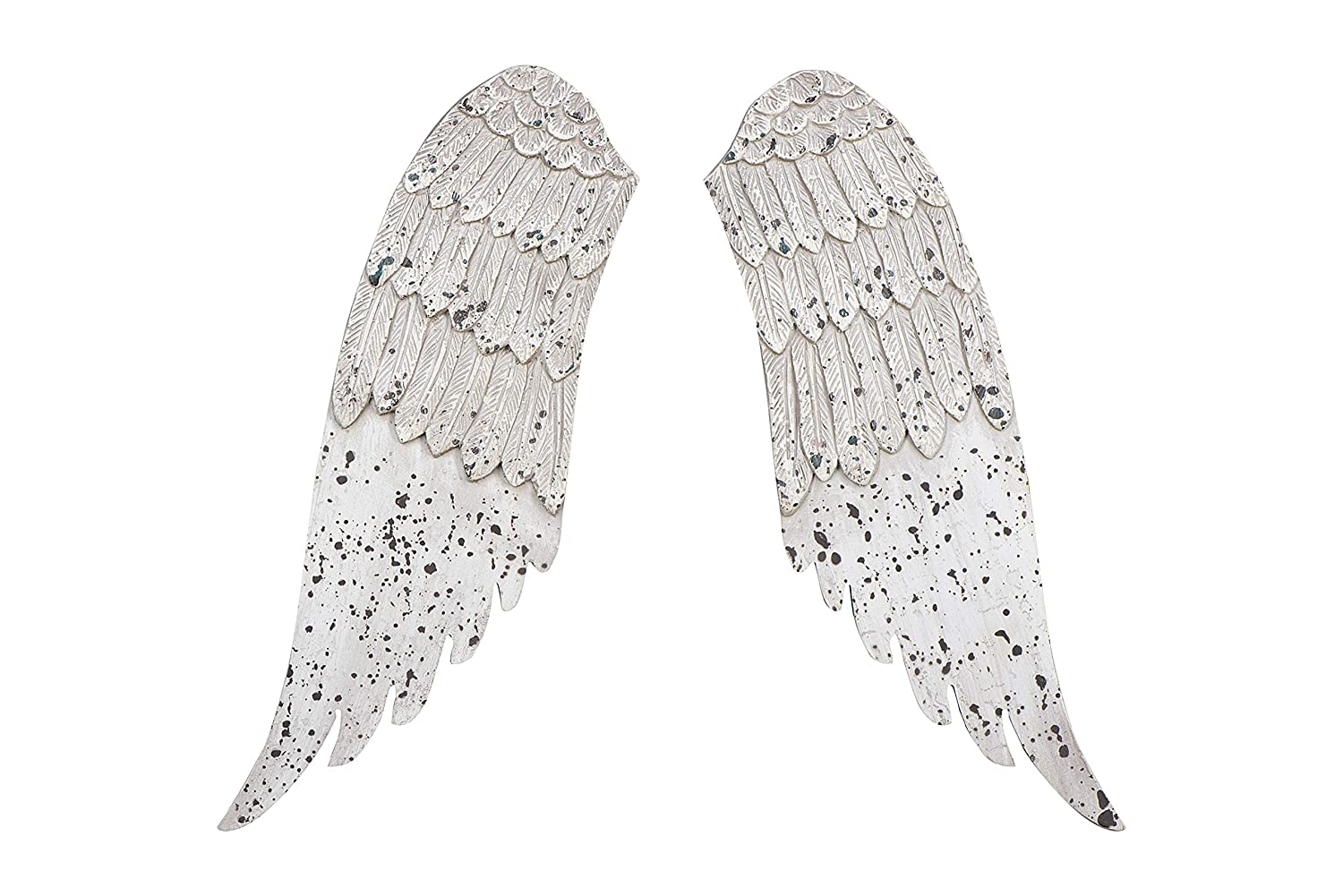 Distressed grey wooden decorative angel wings.