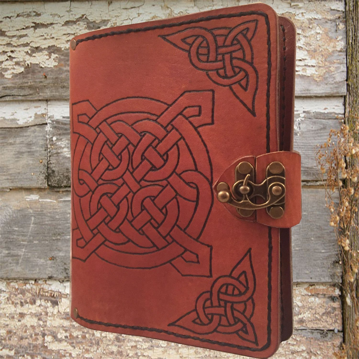 Handmade leather journal,refillable leather journal,personalized leather journal,celtic knots leather journal,leather notebook,distressed leather journal,leather sketchbook by Papyrus Crafts