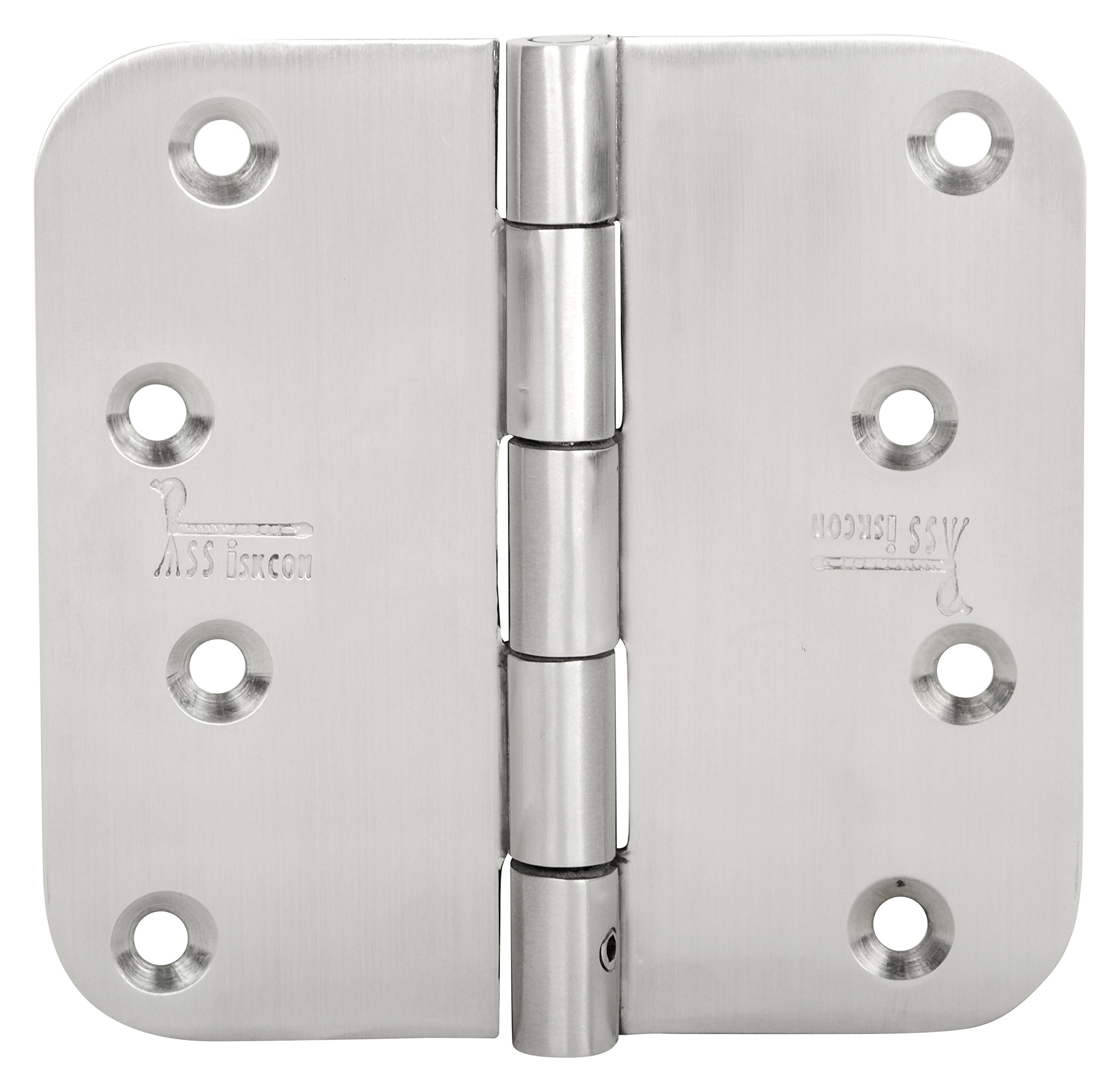 SSiSKCON 4 INCH STAINLESS STEEL GATE Hinge With Removable Pin,4''X 4'',Satin Finish,Hgs-404025Rb-Sb-32D, 5/8 Radius, Heavy Duty.(3Pcs HINGES With 24 Screws)Reversable Technic (Inswing & Outswing Doors