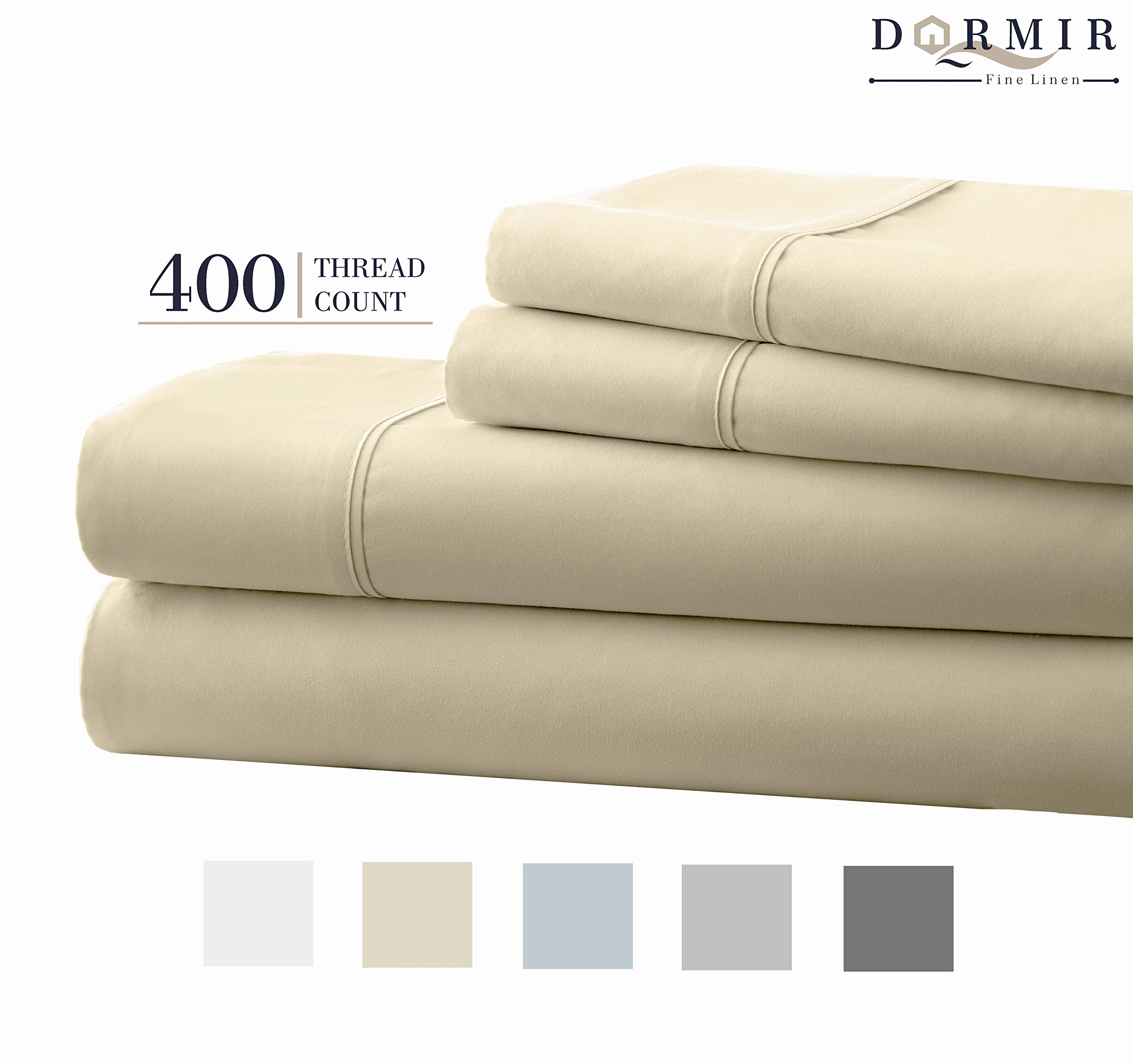 Dormir 400 Thread Count 100% Cotton Sheet Ivory King Sheets Set, 4-Piece Long-Staple Combed Cotton Best Sheets for Bed, Breathable, Soft & Silky Sateen Weave Fits Mattress Upto 18'' Deep Pocket by Dormir