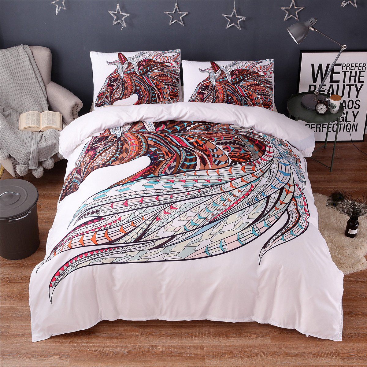 NTBED White Duvet Cover Set Queen Size,Horse Printed Brushed Microfiber Bedding set