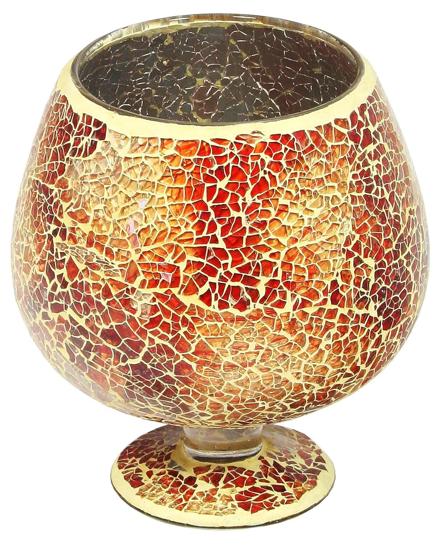 Febland Orange Mosaic Glass Hurricane Small Vase GM51O