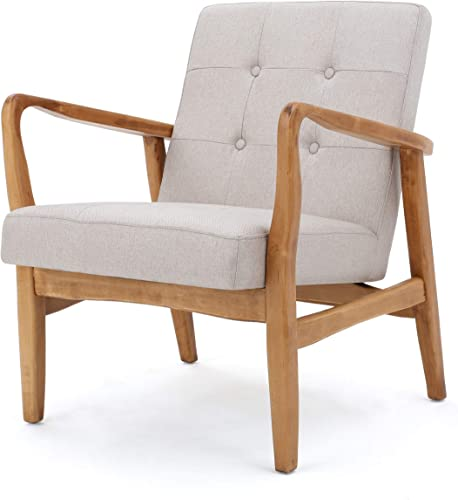 Conrad Medium Beige Fabric Mid Century Modern Club Chair