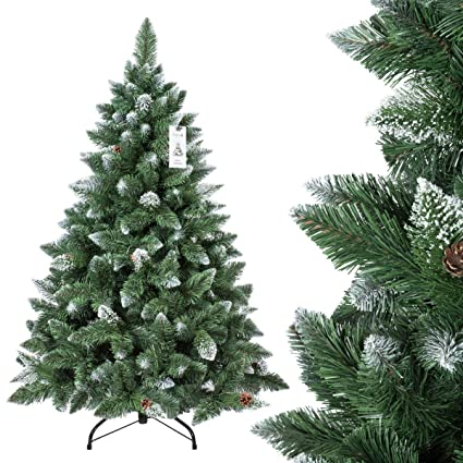 Pvc Christmas Trees.Fairytrees Pine Artificial Christmas Tree Natural White With Snow Material Pvc Real Pine Cones With Metal Stand 150 Cm Ft04 150