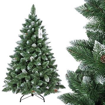 FairyTrees Árbol de Navidad Artificial Pino, Natural de Blanco Nevado, Material PVC, verdadera Piñas, Incluye Soporte de Metal, 150 cm, ...