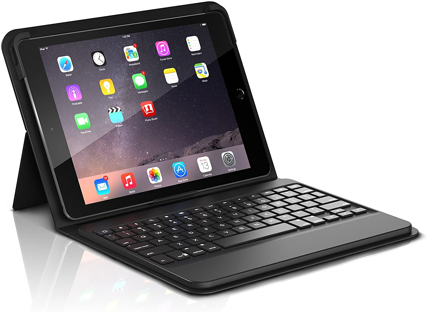 ZAGG ID8BSF-BB0 Messenger Folio Case and Non-backlit Bluetooth Keyboard for Apple iPad Pro 9.7, iPad 9.7, iPad Air and iPad Air 2 - Compatible with 2018 (G6) and 2017 (G5) 9.7 - Black