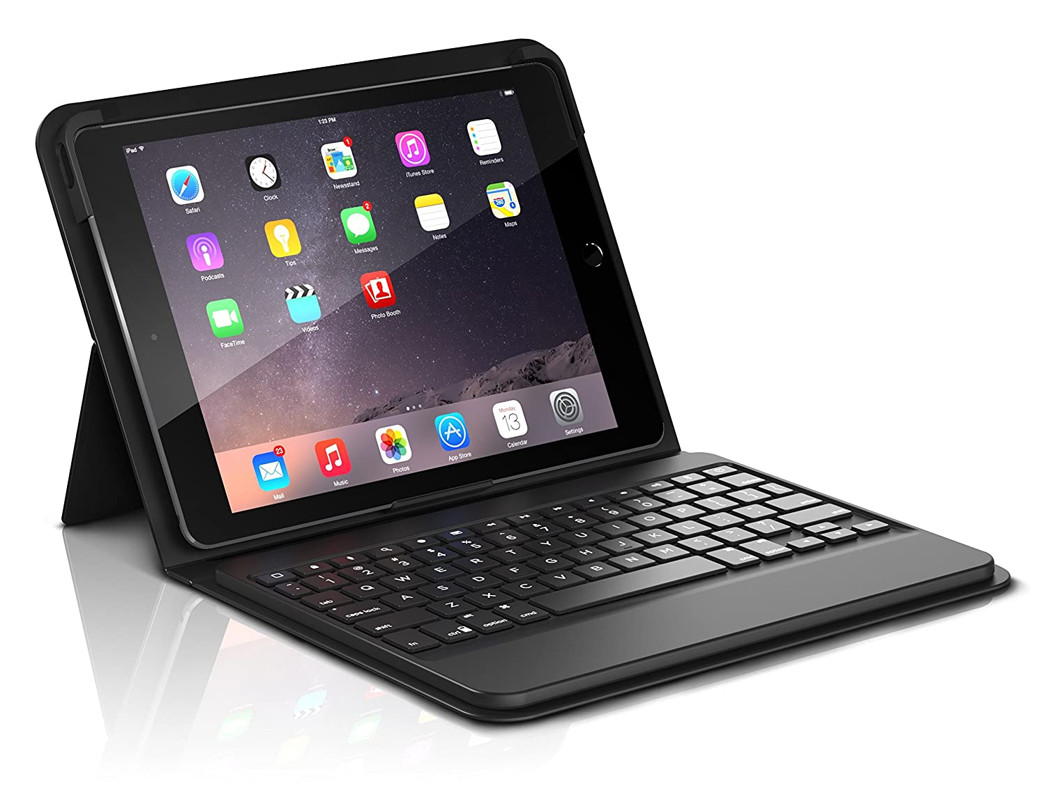 new concept 2adaf b8b14 ZAGG ID8BSF-BB0 Messenger Folio Case and Non-Backlit Bluetooth Keyboard for  Apple iPad Pro 9.7, iPad 9.7, iPad Air and iPad Air 2 - Compatible with ...