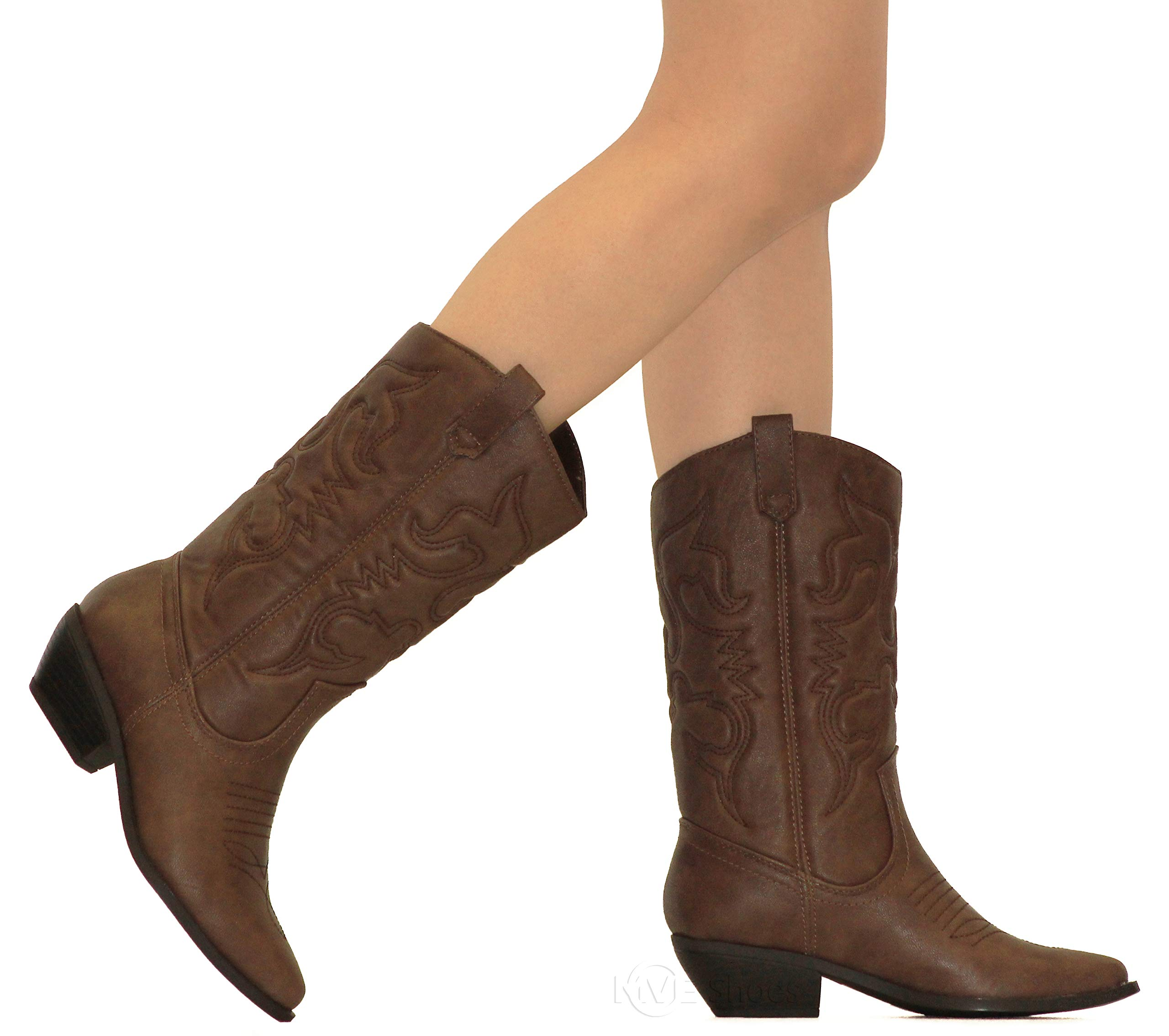 MVE Shoes Women's Western Cowboy Pointed Toe Knee High Pull On Tabs Boots Tan 9