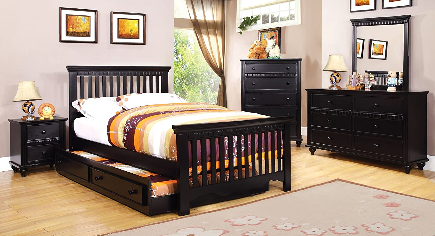 amazoncom furniture of america elliot 2piece cottage style twin size bed frame with trundle black kitchen u0026 dining